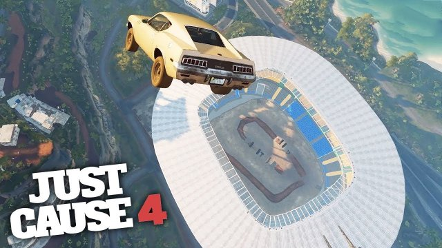 FREE FALL INTO A STADIUM STUNT! - Just Cause 4 Stunts!